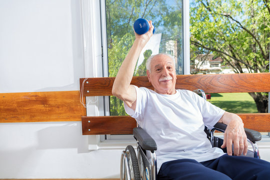 Active elderly people rehab with weights