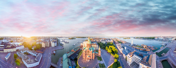 Aerial view of Helsinki at dusk, Finland