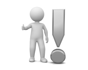 exclamation mark exclamation point silver grey gray 3d exclamation sign with stick man thumbs up ok gesture all right pose isolated on white