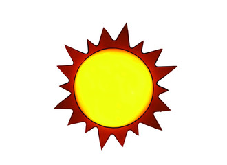 Drawing of a yellow and orange sun.