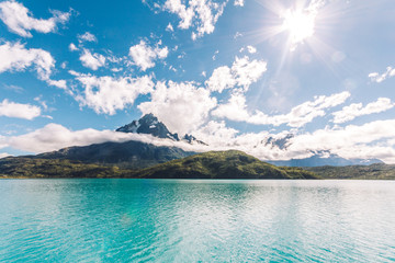 Mountain and turquoise lake landscape in Patagonia. Torres del Paine national Park, Chile