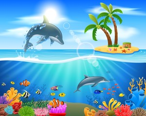 Cartoon dolphin jumping in blue ocean background. vector illustration