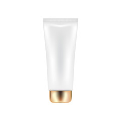 Vector cosmetic tube with golden cap. White bottle for lotion or cream template