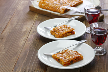 galician style homemade tuna empanada, empanada gallega de bonito