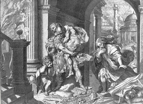 Aeneas flees from Troy. Engraving