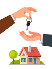 Real estate agent giving keys