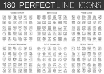 180 outline mini concept infographic symbol icons of web development, 3d modeling, video games, network technology, cloud technology, creative process.