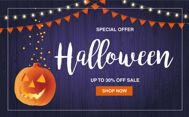 Halloween special offer sale vector illustration with pumpkin, marketing design template