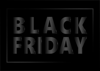 Advertisement text event for Black Friday sales metallic font and frame with black gradient color on black background