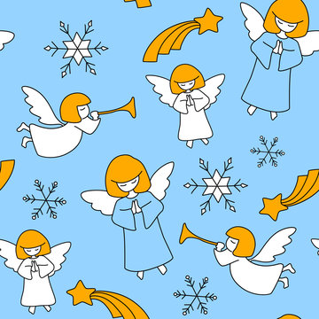 Vector seamless christmas pattern with angels, christmas stars and snowflakes