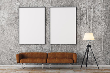 Modern brick living room with empty frames