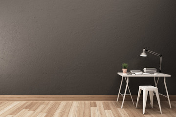 Work space with gray wall and wood floor.3D illustration