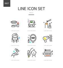 Beauty line icon set