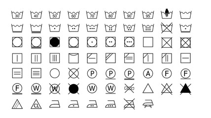set of washing instructions icons