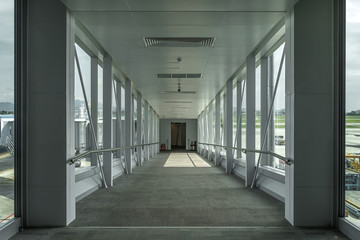 Walkway in airport, Inside bridge that headed to plane
