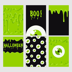 Halloween set. Green  monster, eyes seamless pattern and slime. Halloween poster, banner, card, background.