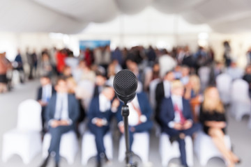 Business conference. Corporate presentation. Microphone.