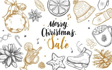 Merry Christmas Sale and Happy New Year frame. Vector hand drawn winter elements and Modern brushpen Calligraphy. Lettering