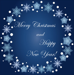 Inscription Happy Christmas and happy new year frame of snowflakes on a blue background, blizzard