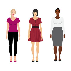 Vector women of different races