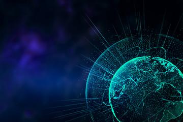 Polygonal globe backdrop