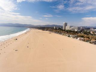 Aerial view of Santa Monica Beach, California