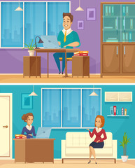 Office Worker 2 Cartoon Banners