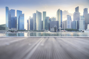 Singapore city skyline of business district downtown in daytime, Business district modern building at dusk, Singapore city skyline, Selective focus Wall mural