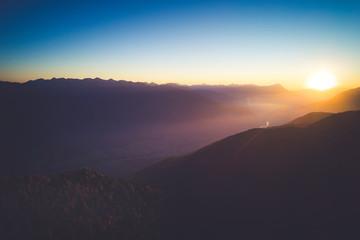 Printed roller blinds Sunset tramonto in Valtellina - Vista aerea