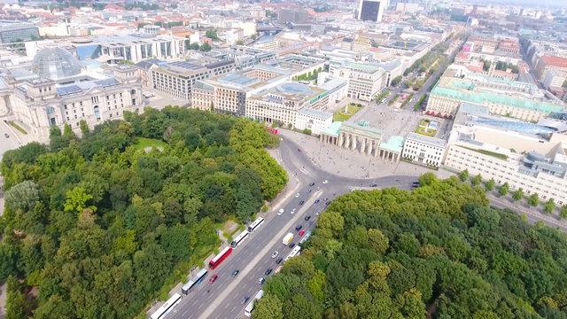 Aerial view of Berlin skyline from June 17 road, Germany