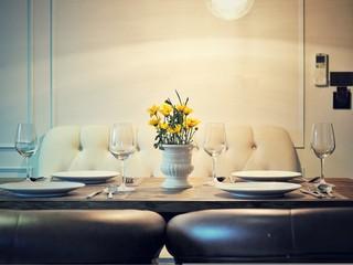 Luxury table set for romantic dinner.