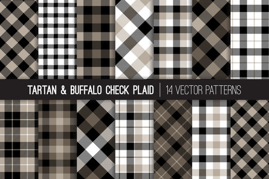 Tartan and Buffalo Check Plaid Vector Patterns. Gray, Black and White Flannel Shirt Fabric Textures. Hipster Fashion. Checkered Background. Pattern Tile Swatches Included.
