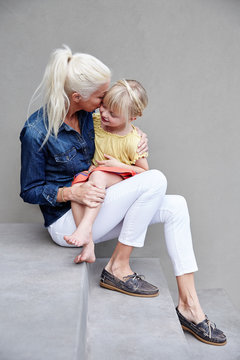 Mom and daughter connecting and having fun