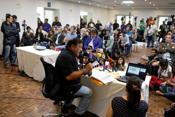 Andres Velasquez, former candidate for governor of Bolivar state, talks to the media during a news conference in Caracas