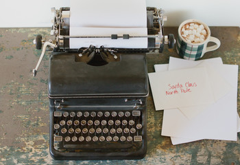 Dear Santa letter started on typewriter
