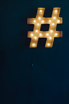 Vintage Marquee Hashtag Light on a chalkboard