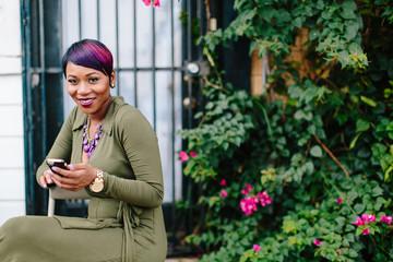Beautiful woman on a smartphone.