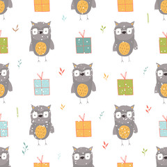 Seamless holiday pattern with owl and presents.