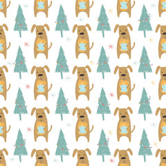 Seamless holiday pattern with dog and presents.