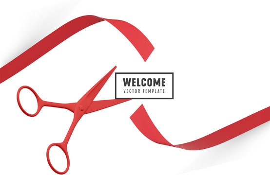 Grand Opening with red Ribbon and Scissors. Welcome ribbon cutting Vector template