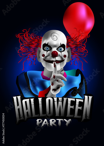 scary clown with a balloon halloween party flyer stock image and