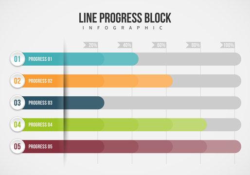Line Progress Block Infographic