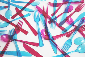 Coloured plastic cutlery...