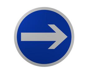 Verkehrszeichen: Vorgeschriebene Fahrtrichtung, hier rechts