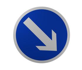 Verkehrsschild: Vorgeschriebene Fahrtrichtung, rechts vorbei