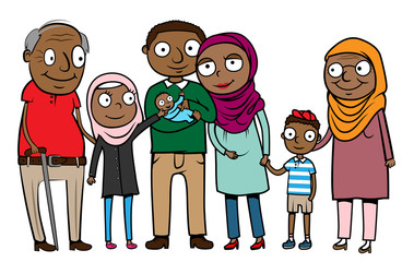 Vector illustration of big cartoon muslim immigrant family