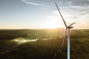 Wind Turbine in the sunset seen from an aerial view