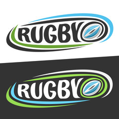 Vector logos for Rugby sport, flying blue oval ball and handwritten word - rugby on black, curved lines around original typography for text - rugby on white background, sports drawn decoration.