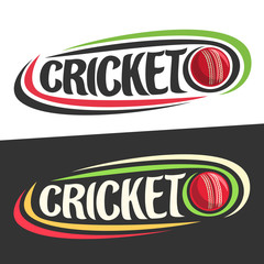 Vector logos for Cricket sport, flying on trajectory red ball and handwritten word - cricket on black, curved lines around creative typography for text - cricket on white background, sports decoration