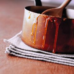 Caramelised sugar in pan